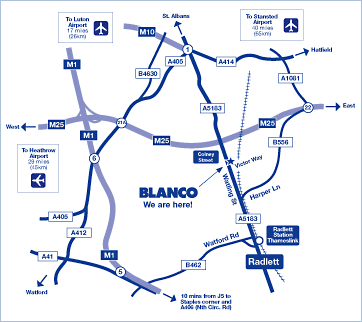 map of how to get to the Blanco HQ and showroom