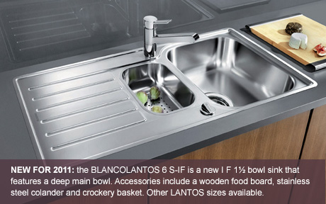 NEW FOR 2011: The BLANCOLANTOS 6 S-IF is a new IF 1 1/2 bowl sink that features a deep main bowl. Accessories include a wooden food board, stainless steel colander and crockery basket. Other BLANCOLANTOS sizes available.