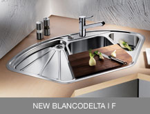 examples of inset sinks with I F flat edge: BLANCODELTA-IF and BLANCOCLASSIC 6 S-IF