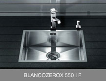 examples of inset sinks with I F flat edge: BLANCOZEROX 550 IF and BLANCORONIS IF